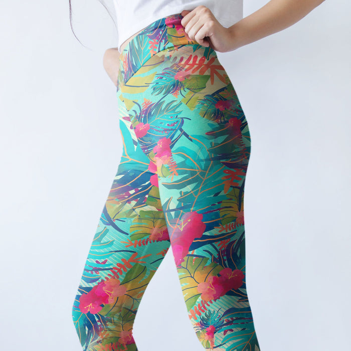 High Waist Designer Floral Print Push Up Leggings