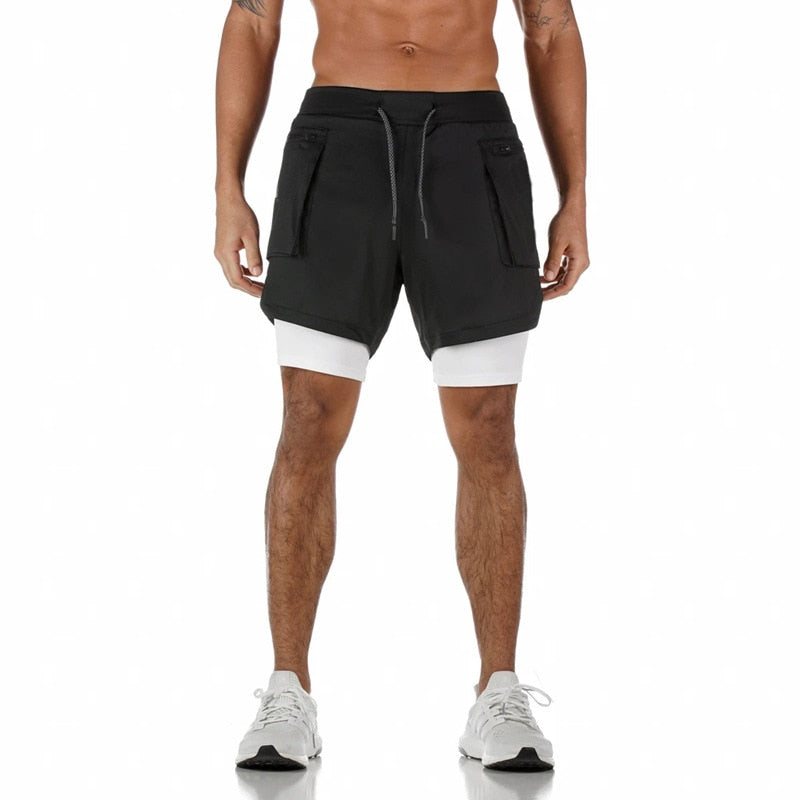 Mens 3 in 1 Workout Shorts with Zippers - Quick dry with phone & towel holder
