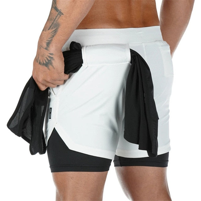 Mens 3 in 1 Workout Shorts - Quick dry with phone & towel holder Camouflage