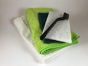 starter kit: microfiber, terry cloth, white scour, green scour, steel brush.