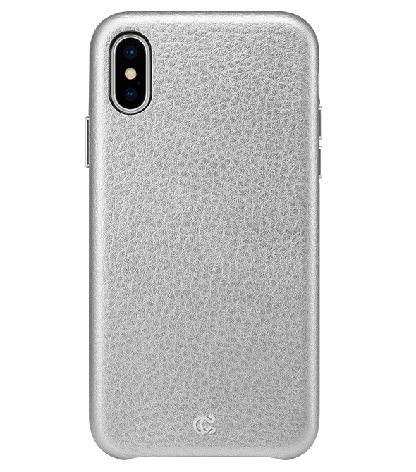 Pebbled Leather Metallic Silver - iPhone XS/X