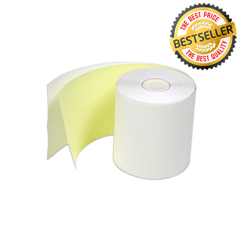 "3"" X 85' Premium 2ply Carbonless Paper Rolls White/Yellow - 50 Rolls"