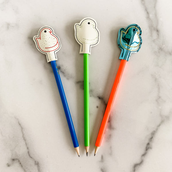 Blue/Red Glow Chicks Pencil Toppers with Pencils - Set of Three