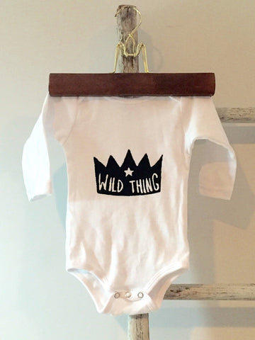WILD THING screen-printed baby bodysuit