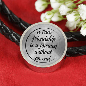 """A True Friendship Is a Journey Without an End"" -  Woven Leather Charm Bracelet"