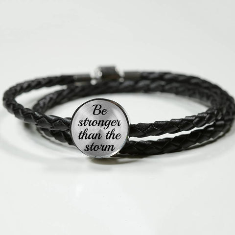 """Be Stronger Than the Storm"" -  Woven Leather Charm Bracelet"