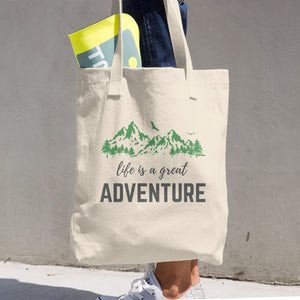 """Life Is A Great Adventure"" Cotton Tote Bag"