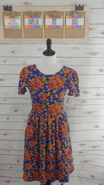 Ameila Dress - Blue and Orange Floral  - XS