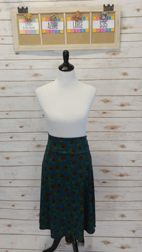 Azure Skirt - Green Holly Print - L