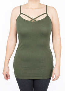 Criss Cross Cami - Green - (2X)