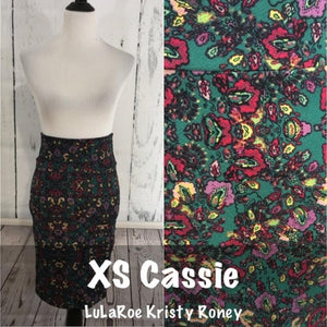 Cassie Skirt - Green Print - XS