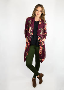 Dusty Miller Cardigan - Burgundy Floral - (2X)