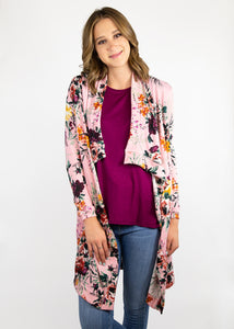 Dusty Miller Cardigan - Pink Floral - (0X)