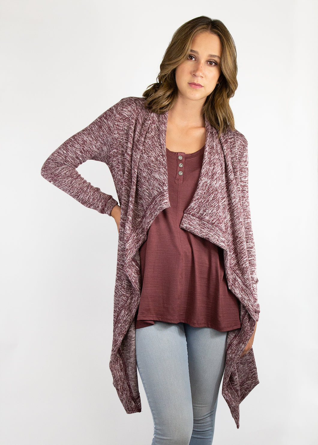 Dusty Miller Cardigan - Burgundy - (3X)