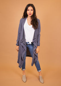 Dusty Miller Cardigan - Blue Stripe - (0X)