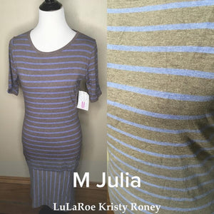 Julia Dress - Blue & Gray Stripes - M