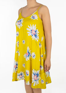 Lily Cami Dress - Yellow Floral - (1X)
