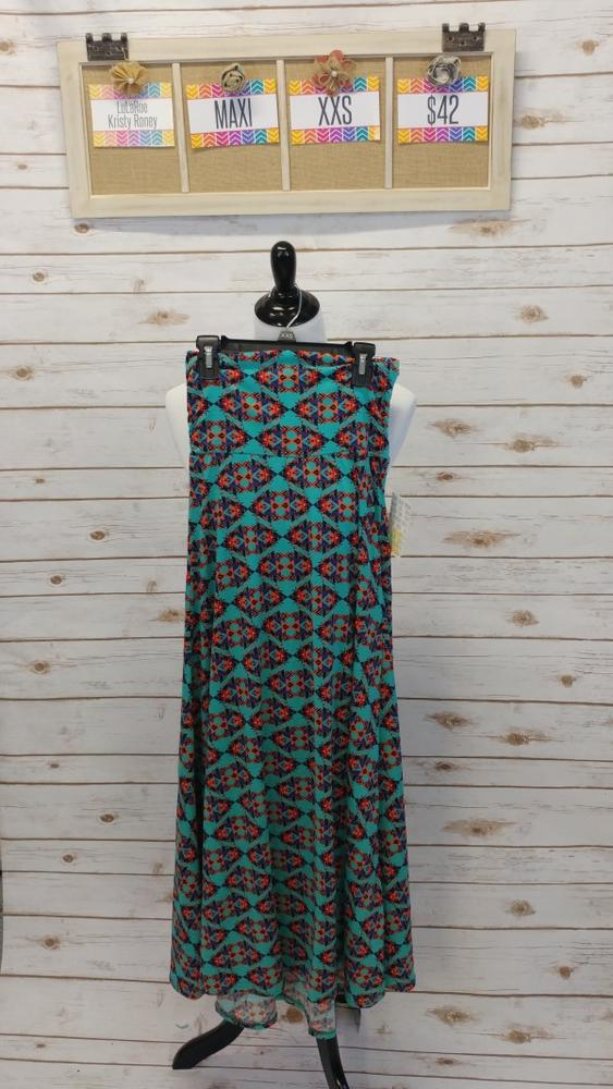 Maxi Skirt - Green Print - XXS