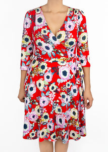 Petunia Wrap Dress - Red Floral - (2X)