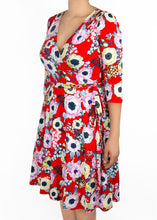 Petunia Wrap Dress - Red Floral - (XL)