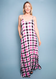 Paisley Raye Pineapple Lily - Pink & Black Plaid - (XS)