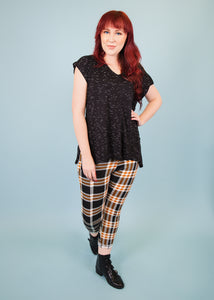 Pixie Pants - Black and Mustard Plaid - (XL)