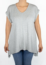 Tulip Tee - Gray and White Stripe - (3X)