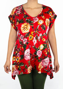 Tulip Tee - Red Floral - (M)
