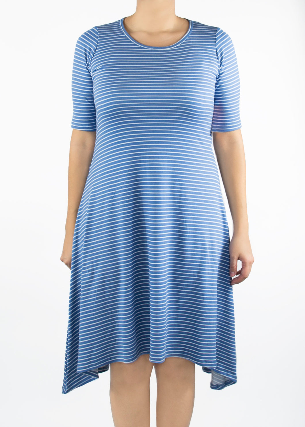 Poppy Dress - Blue and White Stripe - (S)