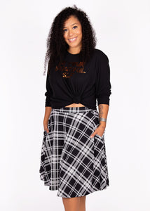 Bloom Skirt - Black and White Plaid  - 2X