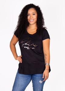 Paisley Raye Graphic Tee - Black Shine - (M)
