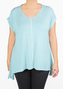 Tulip Tee - Teal and White Stripe - (XS)
