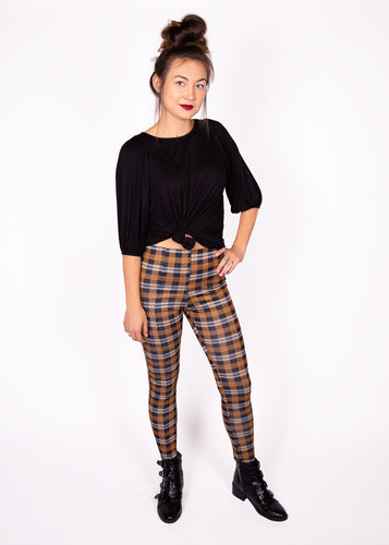 Pixie Pants - Gold Plaid - (3X)
