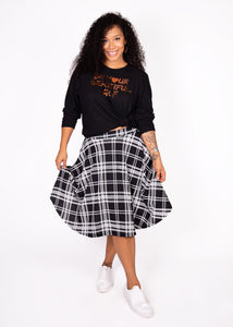 Bloom Skirt - Black and White Plaid  - 1X