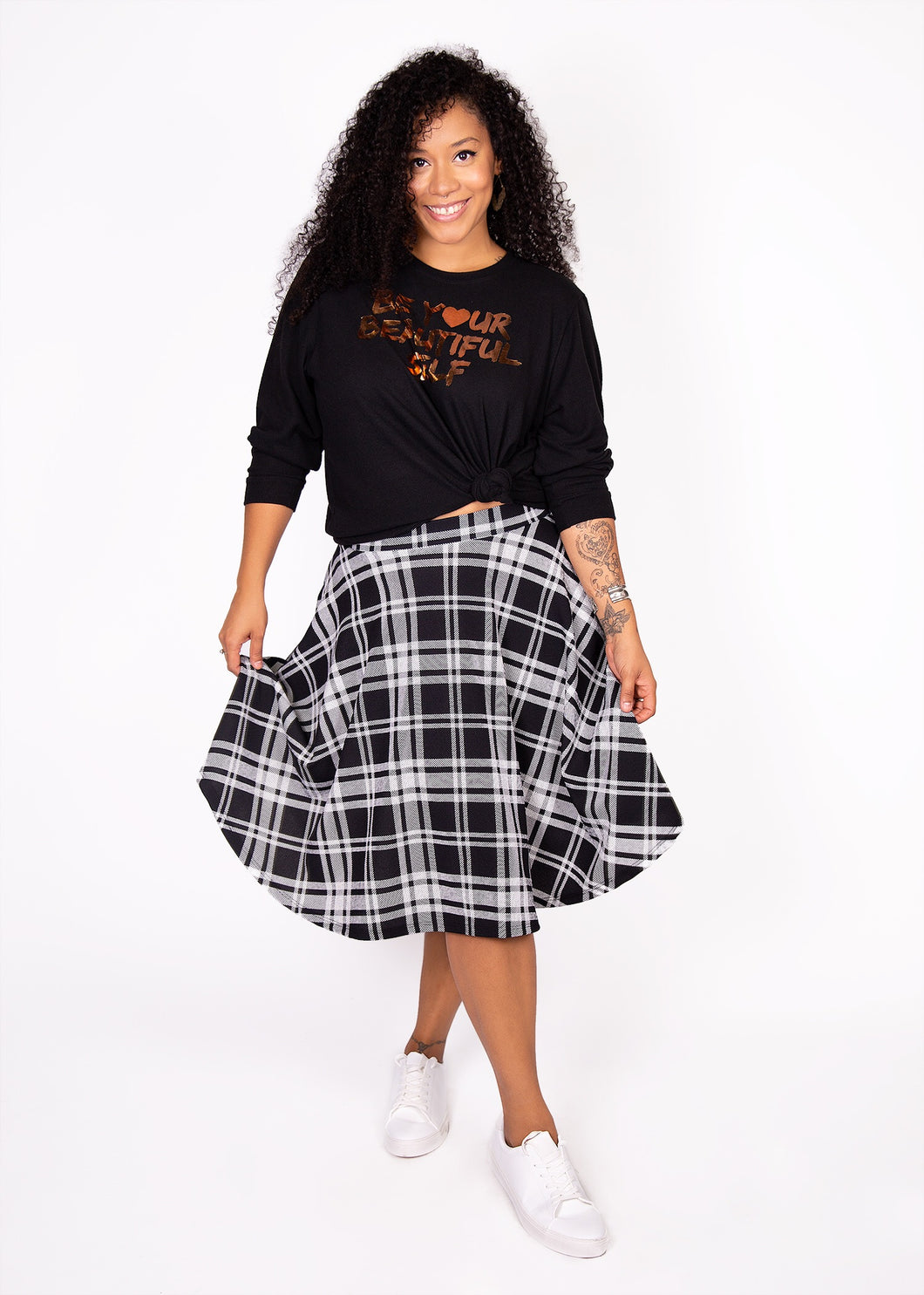 Bloom Skirt - Black and White Plaid  - XL