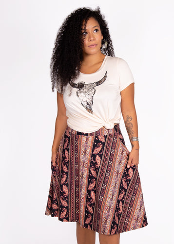 Bloom Skirt - Paisley Print  - (2X)