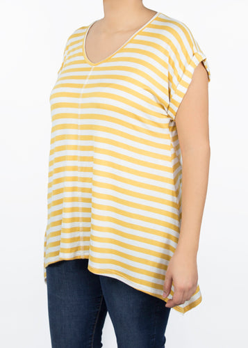 Tulip Tee - Yellow and White Stripe - (2X)