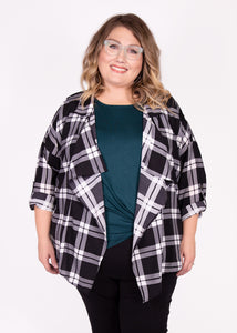 Shacket - Black & White Plaid - (0X)