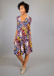 Petunia Wrap Dress - Colorful Floral - (M)