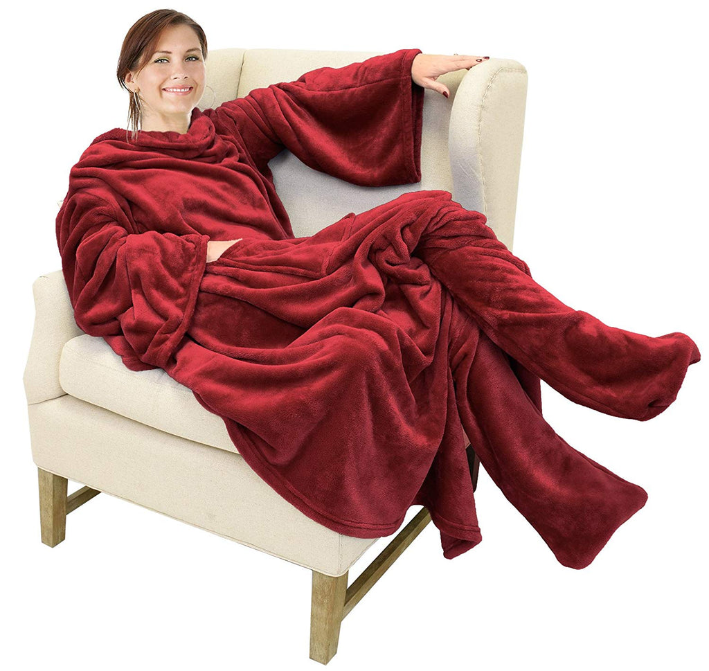 Fleece Blanket With Sleeves