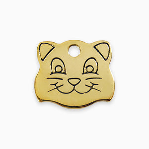 Brass Tag Cat Face
