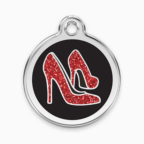 Glitter Enamel Tag Red Shoe Black