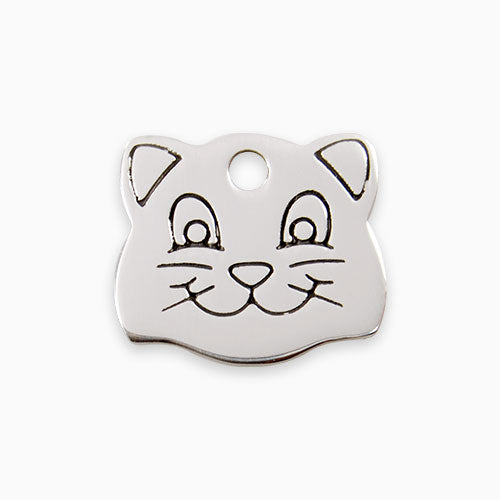 Stainless Steel Tag Cat Face