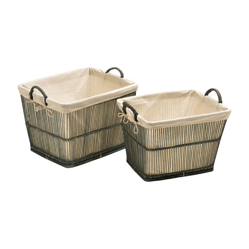 Rattan & Bamboo Storage Baskets Set of Two