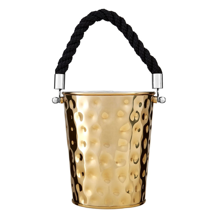 Hammered finish gold stainless steel ice bucket