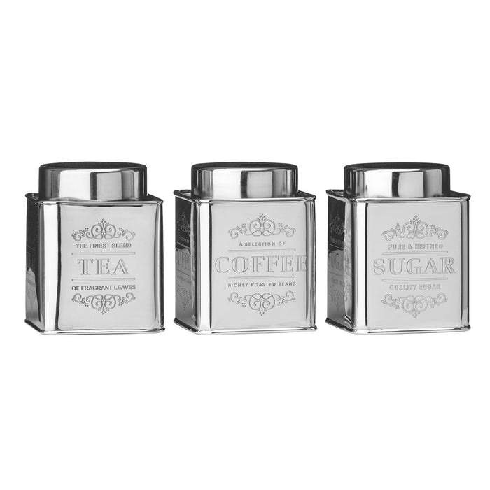 Stainless Steel Tea, Coffee & Sugar Canisters