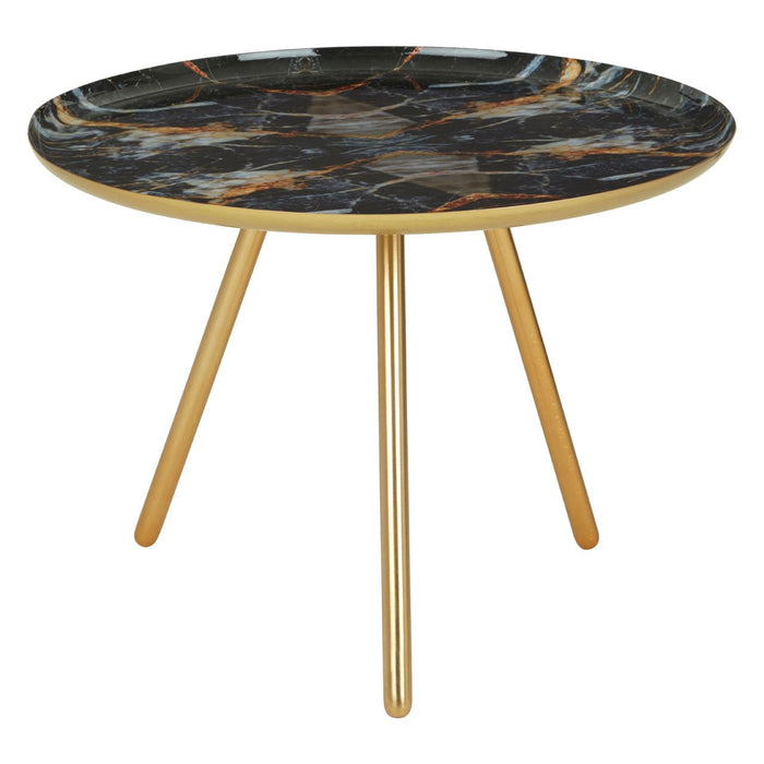 Side table with golden legs and marble print