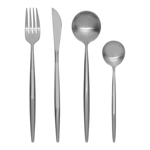 Matte Silver Cutlery Set (16 Piece)