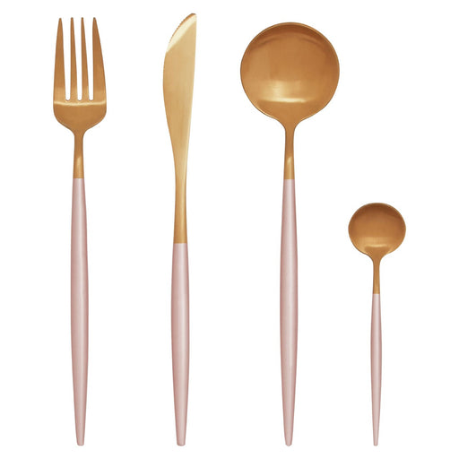 Pink & Gold Cutlery Set (16 Piece)