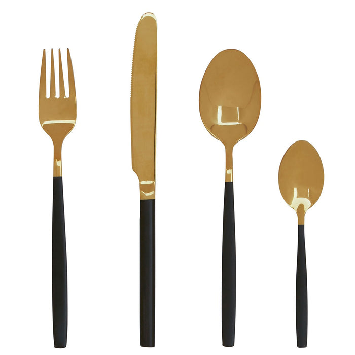 Black and gold cutlery set, includes fork , knife and spoons